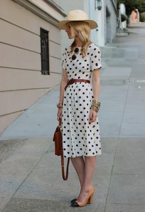 платье в горошек фото